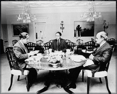 "L-R: Jean Marchand, Pierre-Elliott Trudeau, Gérard Pelletier (Pearson's ""three wise men"")"